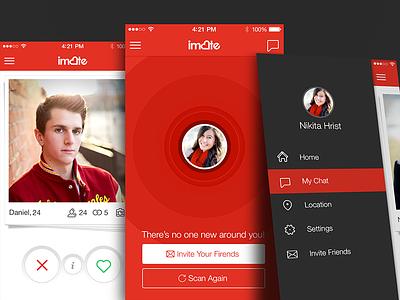 iMate iOS App dating ios app ui tinder