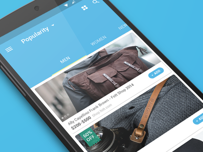Glam Shopping Android L (WIP) ecommerce shop shopping app android android l product store ui material design google tab