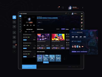 Main dashboard for competitive gaming platform games design gamers app ragebite profile ux ui website esports gaming dashboard