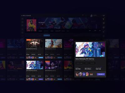 Competitive gaming platform | Events events app website ragebite esports ux ui design gaming dashboard leagues tournaments events