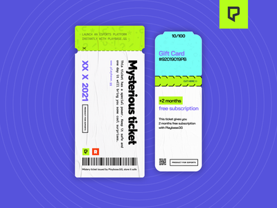 Playbase.GG Mysterious tickets design illustration logo dashboard figma vector modern images ragebite esports gaming promo invite ux ui design cards tickets