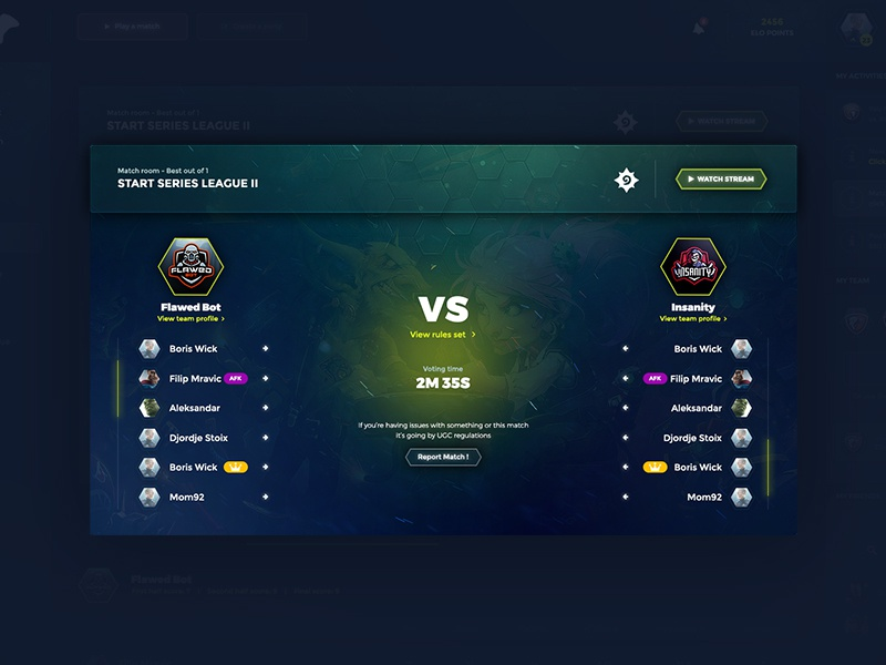 Dashboard gaming match page