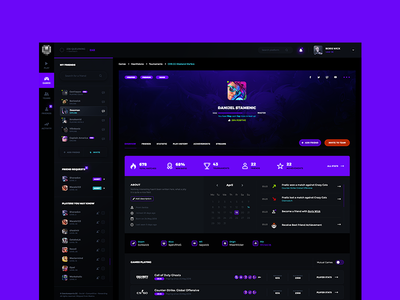 Gaming & eSports Dashboard dark app design web interface application ux ui games esports dashboard gaming