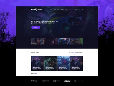 PixieFreak | eSports gaming theme for teams & tournaments design dashboard theme wordpress landing website gaming esports