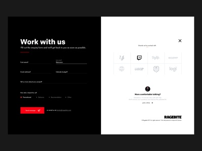 Contact us page | Ragebite email minimal design work ragebite studio agency ux ui form contact webdesign