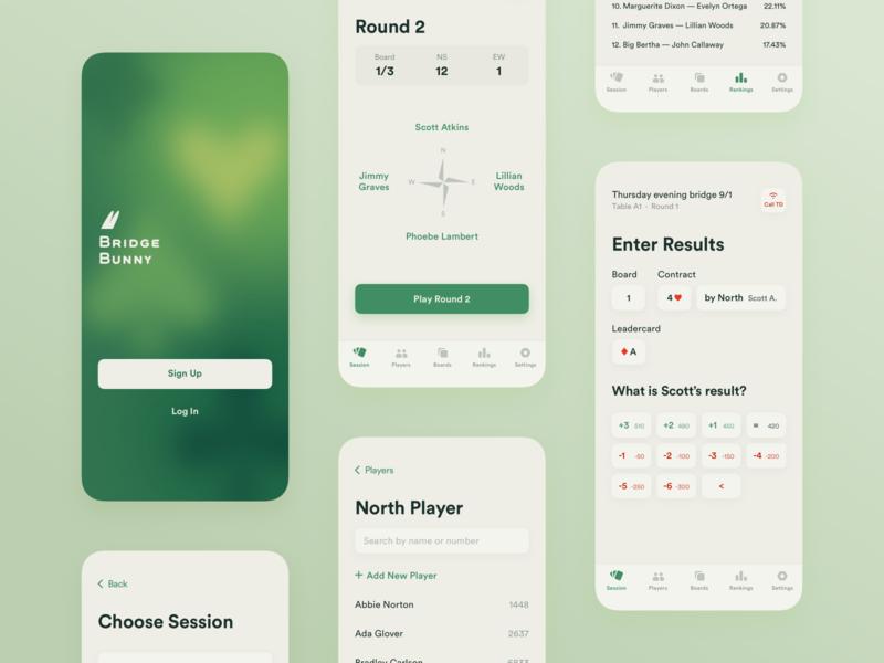 Bridge Game Assistant App Concept green logo bunny bridge gambling ios ui app