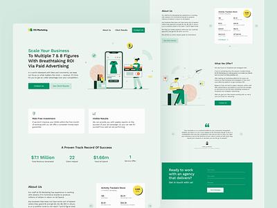 Landing Page For Marketing Agency redesign homepage advertising web green marketing illustration logo landing page
