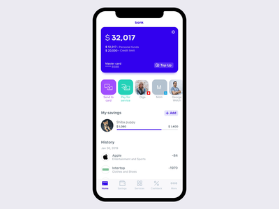 Bank App Concept goal concept finance wizard transitions banking bank ios app animation