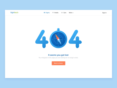 404 Page For Online Travel Agency ota web illustration travel compass error 404 animation