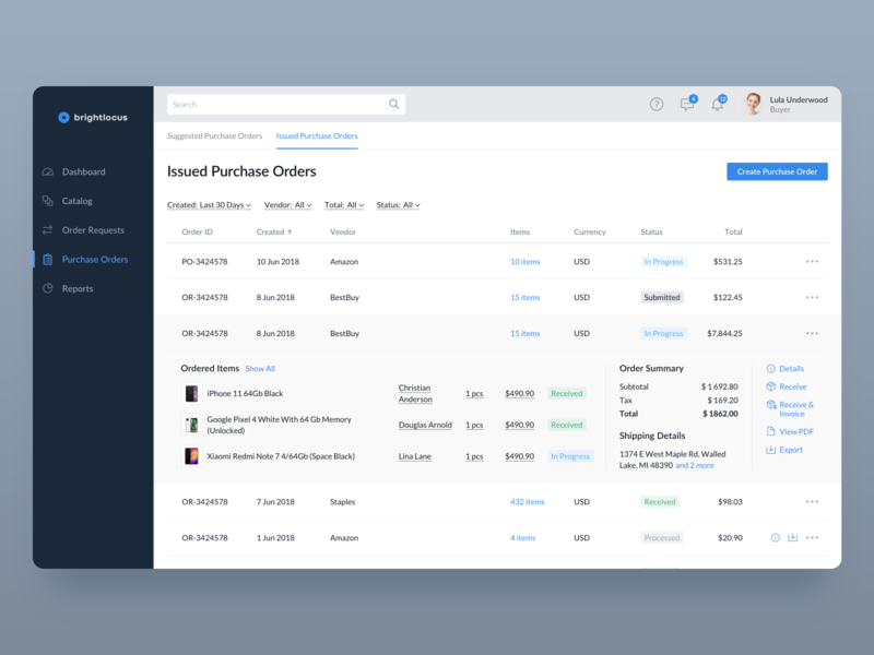 Purchase Management System – Purchase Orders simple management list clean product business ux ui dashboard web