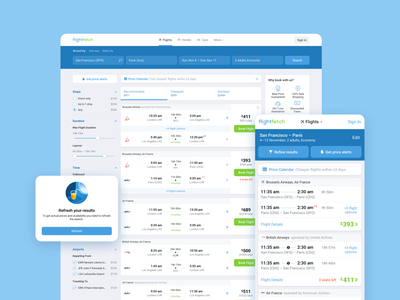 Flight Search Results travel ota search results fares booking flights ui web