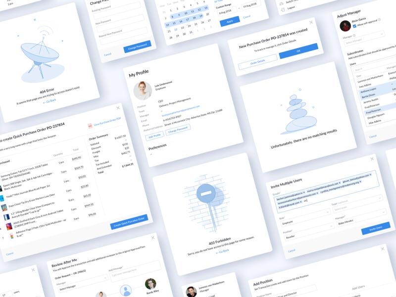 Brightlocus – Purchase Management System 404 illustrations blue design case study business elements ui dashboard web