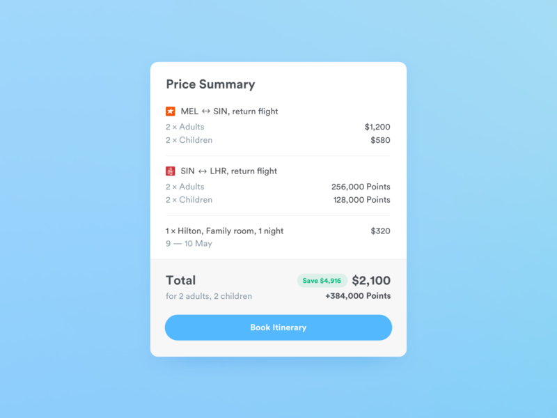 Price Summary travel billing price booking itinerary trip flights cart total checkout price summary