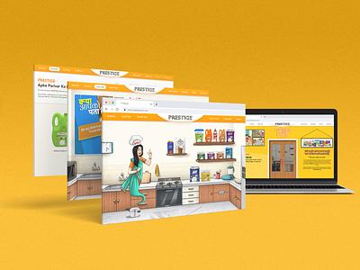 Prestige Website UI website design conceptual colorful 3d branding illustration landing page ui