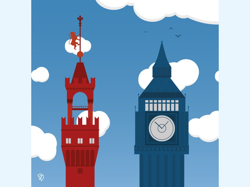 Florence/London tower school flat illustration london florence design flatdesign flat artwork education