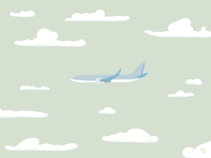 Quiet clouds cloud fly plane procreate brush flat illustration flatdesign sketch flat illustration artwork