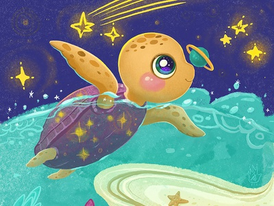 Turtle and Planet digitalartist cgart fantasy kawai character cute artist cuteart illustration characterdesign