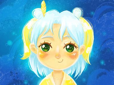 Girl with a feather in her hair artist kawai cute digitalartist cgart cuteart cartoon characterdesign illustration character
