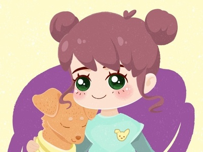 Chibi Portrait with a pet