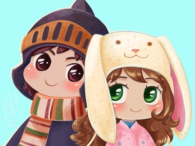 Chibi portrait in funny hats