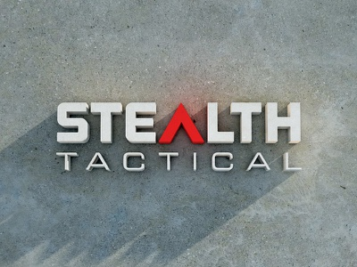 Stealth Tactical logo identity 3d typography branding gun reticle