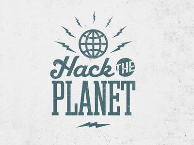 Hack the Planet typography design mark global world hack