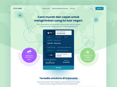 kirim.cuan | Simple Money-transfer Landing Page Exploration ux ui money app product finance transferwise transfer money exploration landing page simple