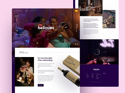 Belissim - Wine Company Website hero header video background design store retail company wine ui section layout landing page website web design