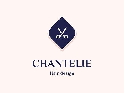 Chantelie - Hair design logo elegant sophisticated scissors delicate subtle logo feminine logo feminine hair care hair stylist hairdresser hair style hair salon hair cut haircut hair hair design