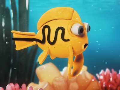 Franky water ocean after effects plasticine clay fish