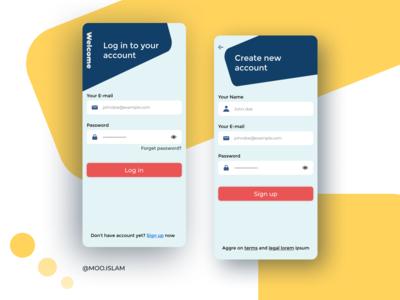Login & Sign up Mobile design