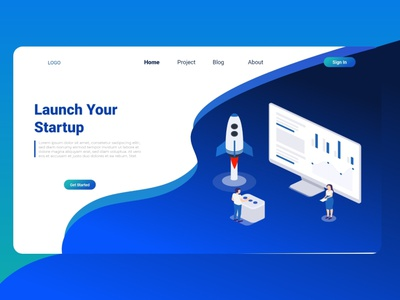 Landing Page Launch Your Startup app template website vector isometric digital landing page business online background computer people learning learning english modern graphic creative information layout
