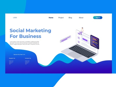 Social Marketing Business Landing Page Isometric Design app template website vector isometric digital landing page business online background computer people learning learning english modern graphic creative information layout