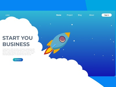 Rocket Start You Business Design Landing Page app template website vector isometric digital landing page business online background computer people learning learning english modern graphic creative information layout
