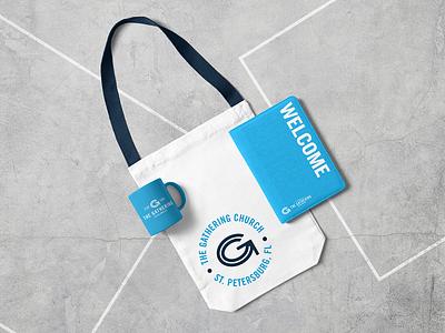 Welcome Pack mug tote welcome gathering church g logo design mockup monogram brand branding and identity logo branding