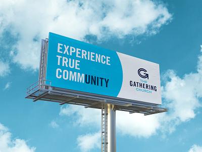 The Gathering Church Billboard community unity gathering church sign ad mockup advertising billboard identity logo design logo branding