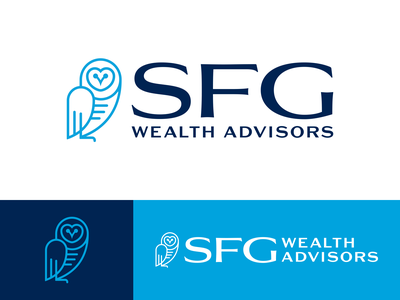 SFG Wealth Advisors shirt polo tote billboard letterhead logo design bird owl advisor management wealth financial identity mockup logo branding