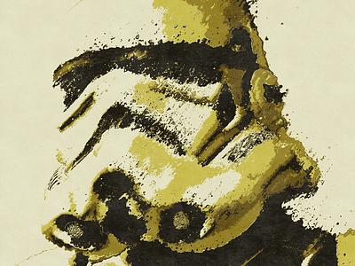 Gold Trooper print poster design poster fan art scifi texture grunge distortion destruction gold retro stormtrooper star wars starwars