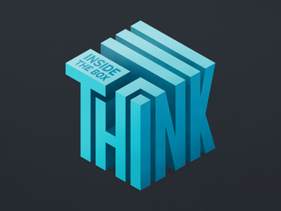 Think Inside The Box box question thought grain cube blue think shading texture print type typography isometric