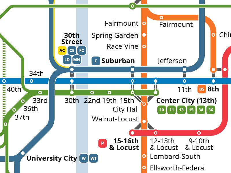 Unofficial SEPTA Map Redesign trolley streetcar subway transportation transit map septa philadelphia