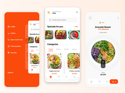 FooDelivery switzerland mobile app mobile mainscreen categories sales avocado uiux ux feed bowls bowl salad delivery food design ui