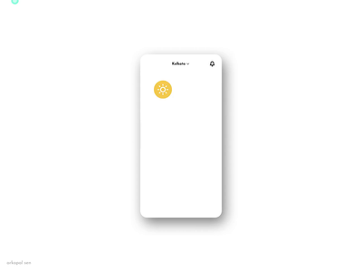 Weather App Home Screen location cloud typography detailed application animations figmotion figma animation rainy sunny ios android clean ux ui app design weather app weather