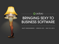 Bringing Sexy to Business Software title slide