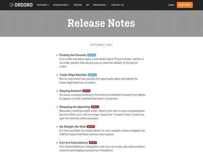 Ordoro Release Notes Page