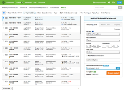Compact UI for the Order List shipping label table list orders compact ordoro