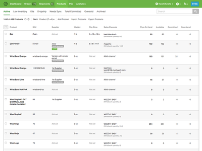 Refreshed Ordoro Product List Page inventory management skus inventory table products ordoro