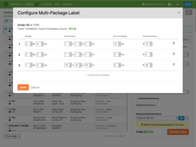 UI for creating a multi-package label table aktiv grotesk shipping ui ordoro