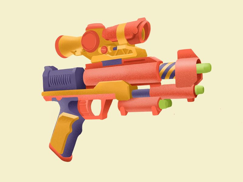 Nerf Gun icon flat logo design procreate print icon design digital art design illustration art direction