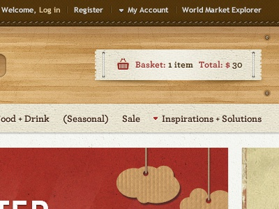 Shopping cart cart wood header icons texture