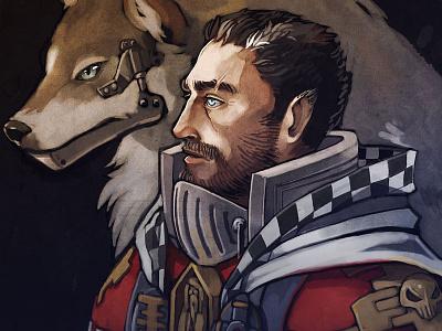 Manus the Wolf 40k paintchat pchat illustration painting wolf fantasy